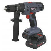 Sealey Cordless Lithium-ion Hammer Drill/Driver 18V Super Torque 1hr Charge - 2 Batteries Model No-CP6018V