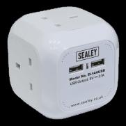 Sealey Extension Cable Cube 1.4mtr 4 x 230V + 2 x USB Sockets - White Model No-EL144USB