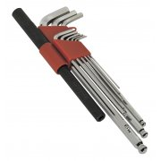 Sealey Extra-Long Ball-End Hex Key Wrench Set with Power Bar 10pc Metric Model No-AK6145