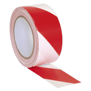 Hazard Warning Tape 50mm x 33mtr Red/White : Model No.HWTRW
