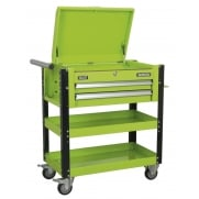 Sealey Heavy-Duty Mobile Tool & Parts Trolley 2 Drawers & Lockable Top - Hi-Vis Green Model No- AP760MHV