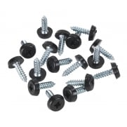 Number Plate Screw Plastic Enclosed Head Ø4.8 x 18mm Black Pack of 50 : Model No.PTNP3