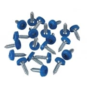 Number Plate Screw Plastic Enclosed Head Ø4.8 x 18mm Blue Pack of 50 : Model No.PTNP4