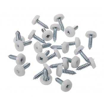 Sealey Number Plate Screw Plastic Enclosed Head Ø4.8 x 18mm White Pack of 50 : Model No.PTNP1