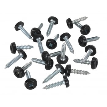 Sealey Number Plate Screw Plastic Enclosed Head Ø4.8 x 24mm Black Pack of 50 : Model No.PTNP7