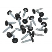 Number Plate Screw Plastic Enclosed Head Ø4.8 x 24mm Black Pack of 50 : Model No.PTNP7