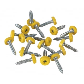 Sealey Number Plate Screw Plastic Enclosed Head Ø4.8 x 24mm Yellow Pack of 50 : Model No.PTNP6