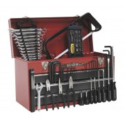 Sealey Portable Tool Chest 3 Drawer with Ball Bearing Runners - Red/Grey & 72pc Tool Kit Model No-AP9243BBCOMBO