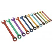 Sealey Ratchet Combination Spanner Set 12pc Multi-Coloured Metric Model No-19731