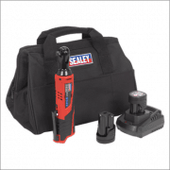 "Sealey Ratchet Wrench Kit 3/8""Sq Drive 12V Li-ion - 2 Batteries Model No-CP1202KIT"