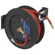 Sealey Retractable Air Hose Metal Reel 15mtr 10mm ID Rubber Hose Model No- 13066