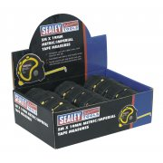 Sealey Rubber Measuring Tape 5mtr(16ft) x 19mm Metric/Imperial Display Box of 12 Model No-AK98912