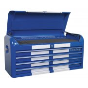 Sealey Topchest 4 Drawer Wide Retro Style - Blue with White Stripe Model No-20327