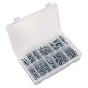 Self Tapping Screw Assortment 600pc Countersunk Pozi Zinc DIN 7982 : Model No.AB065STCP