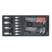 Sealey Tool Tray with Hex/Ball-End Hex Keys & Socket Bit Set 29pc Model No-TBT07