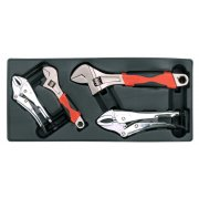 Sealey Tool Tray with Locking Pliers & Adjustable Wrench Set 4pc Model No-TBT04