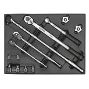 Sealey Tool Tray with Ratchet, Torque Wrench, Breaker Bar & Socket Adaptor Set 13pc Model No-TBT32