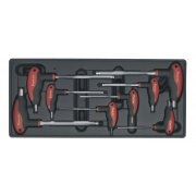 Sealey Tool Tray with T-Handle Ball-End Hex Key Set 8pc Model No-TBT06