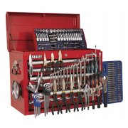 Sealey Topchest 10 Drawer with Ball Bearing Runners - Red & 138pc Tool Kit Model No-AP33109COMBO