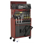 Sealey Topchest & Rollcab Combination 6 Drawer with Ball Bearing Runners - Red/Grey & 128pc Tool Kit Model No-AP2200BBCOMBO