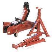 Sealey Trolley Jack 2tonne Short Chassis with Axle Stands & Storage Case Model No-1030CXDK