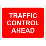 1050 x 750mm Temporary Sign & Frame - Traffic Control Ahead