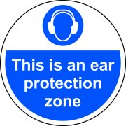 400mm dia. This is an ear protection zone Floor Graphic