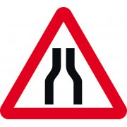 600mm tri. Temporary Sign & Frame - Road Narrows Both Lanes