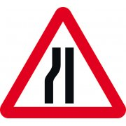600mm tri. Temporary Sign & Frame - Road Narrows Left