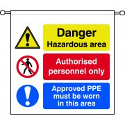 Danger Hazardous area Authorised personnel only Approved PPE must be worn in this area - Barrier Sign (760 x 760mm)