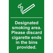 Designated smoking area. Please discard cigarette ends? - PVC (200 x 300mm)