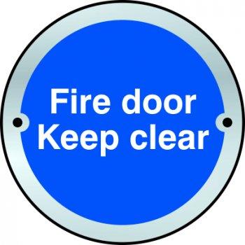 Spectrum Industrial Fire door Keep clear door disc - SSS (75mm dia.)