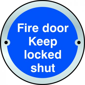 Spectrum Industrial Fire door Keep locked shut door disc - SSS (75mm dia.)