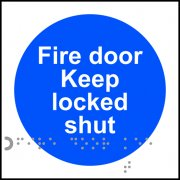 Fire door Keep locked shut - Taktyle (100 x 100mm) (Pack of 10)