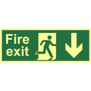 Fire exit?(Man arrow down) - Photolum. (400 x 150mm)