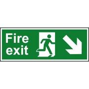 Fire exit (Man arrow down/right) - RPVC (400 x 150mm)