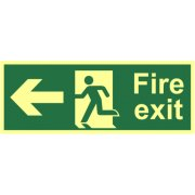 Fire exit (Man arrow left) - Photolum. (400 x 150mm)