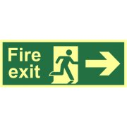 Fire exit (Man arrow right) - Photolum. (400 x 150mm)