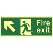 Fire exit?(Man arrow up/left) - Photolum. (400 x 150mm)