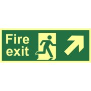 Fire exit (Man arrow up/right) - Photolum. (400 x 150mm)