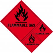 Flammable gas labels - SAV (200 x 300mm) (Pack of 3)