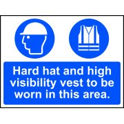 Hard hat and high visibility vest must be worn in this area - Correx (600 x 450mm)