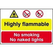 Highly flammable / No smoking or naked lights - PVC (600 x 400mm)