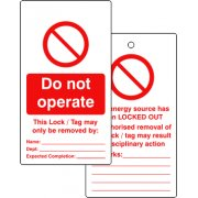 Lockout Tags - Do not operate (Double Sided 10 pack)