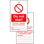 Lockout Tags - Do not start (Double Sided 10 pack)