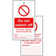 Lockout tags - Do not switch off (Double sided 10 pack)