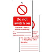 Lockout tags - Do not switch on (Double sided 10 pack)