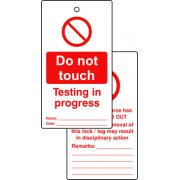 Lockout tags - Do not touch testing in progress (Double sided 10 pack)