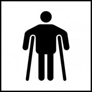 Man on crutches graphic - Taktyle (150 x 150mm)