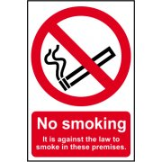 No smoking It is against the law to smoke on these premises - CLG (148 x 210mm)